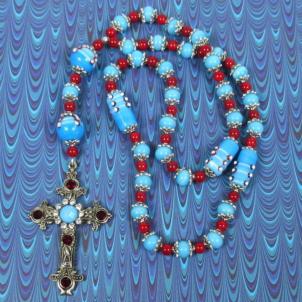 Red Blue Capped Prayer Beads