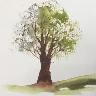 An early spring tree with the dry brush technique.