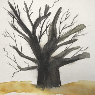 An embarrassing looking winter tree, but oh well. It's part of the learning process right?!