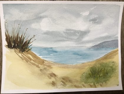 It was fun to create a quick beach scene in order to paint the grasses on the top left dune. I don't love my green blob of grass on the right.