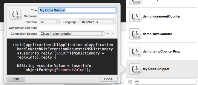 Code snippet edit view