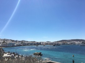 View of Mykonos town from my walk over.