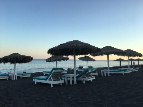 Perissa beach as the sun sets