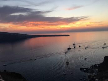 The sunset cruises heading back to port