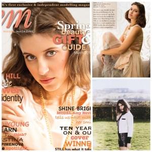 Model in EM magazine fashion spread pastel colours