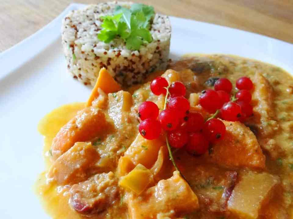 Sommercurry-vegan, Sommer-Mango-Kirsch-Curry