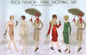 Here's a fun picture of 1920s fashion, courtesy of Glamordaze.com.