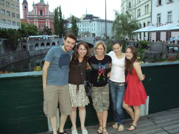 With some new friends from my classes at the Center for Slovene, on one of the many bridges near Ljubljana's center (Preseren Trg). There are so many people from different countries here! In this photo alone are friends from Brazil, Holland, Croatia, and Texas!