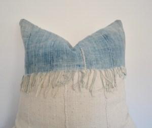 white mucloth indigo vintage fringe pillow