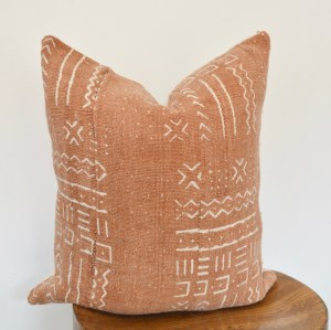 rust mudcloth vintage pillow boho