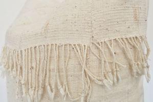 vintage white mudcloth + fringe pillow