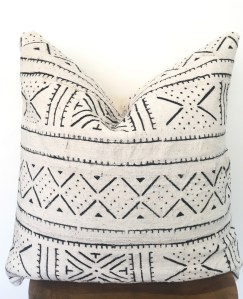 vintage patterned mudcloth pillow