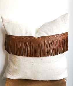 vintage white mudcloth + leather fringe