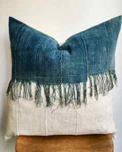 vintage indigo + fringe + white mudcloth