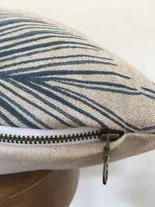 linen with indigo details