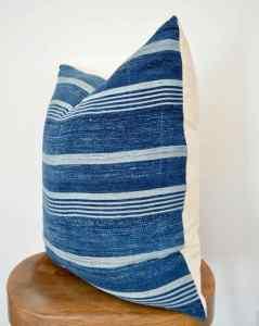 striped vintage indigo pillow cover