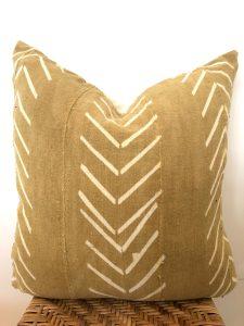 mustard arrow mudcloth pillow