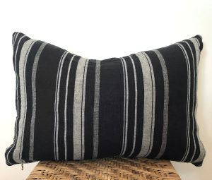 vintage black stripe lumbar pillow