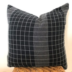 vintage black plaid pillow