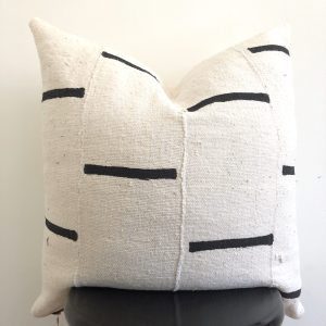 black stripe mudcloth pillow
