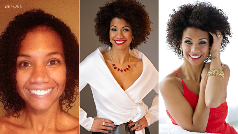 Before and after photos of young beautiful black woman