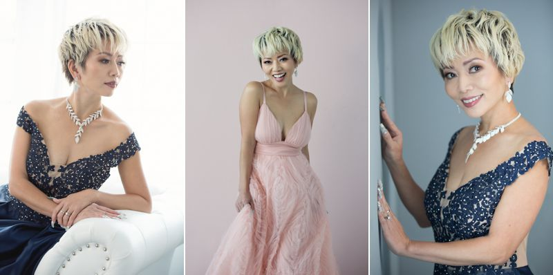 Portraits of a beautiful Asian woman in formal gowns