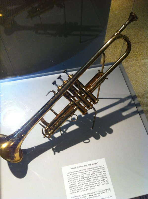 One of his trumpets, a gift from King George V