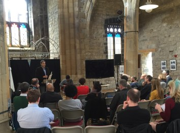 Giving a talk on systemic music at St. Mary's Church