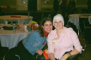 That's me with Stephanie at the Camp Sunshine Holiday Party in 2004.