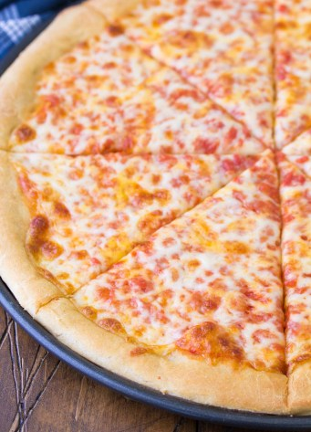 Cheese pizza made with whole wheat pizza dough.