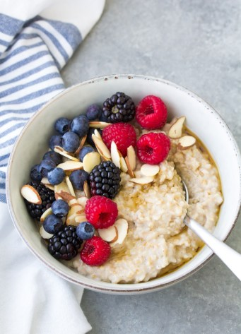 How to cook steel cut oatmeal that is creamy and not mushy, plus ideas for oatmeal toppings.