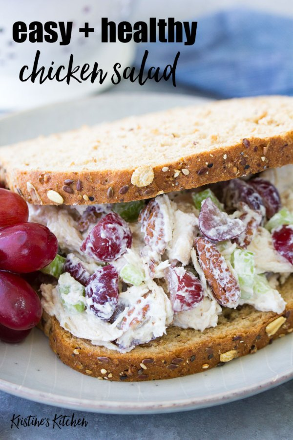 Chicken salad sandwich with grapes and pecans.