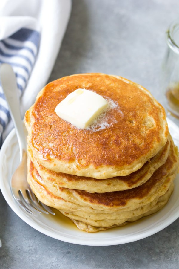 Light and fluffy buttermilk pancakes made from scratch.