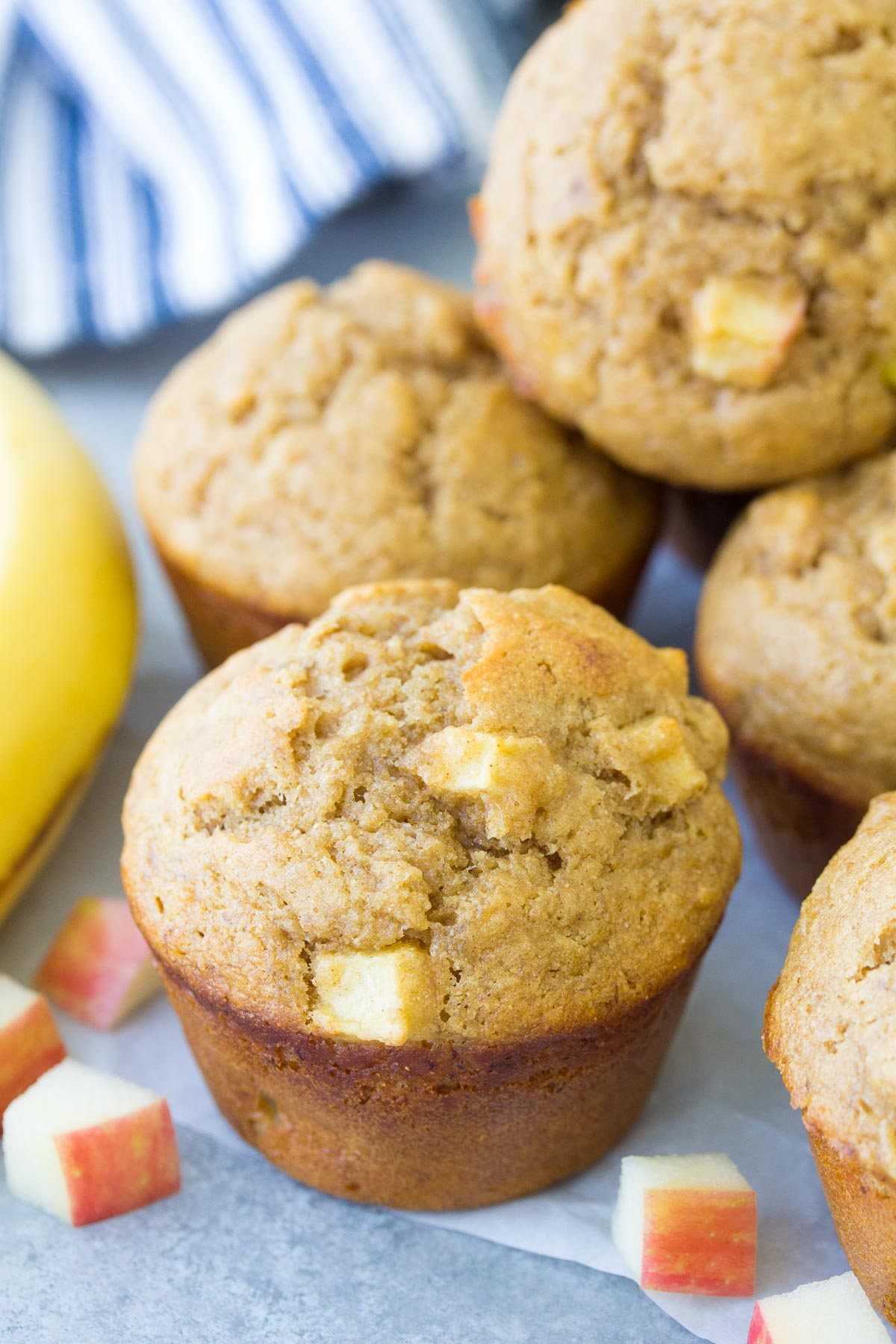 Close up of apple banana muffins.
