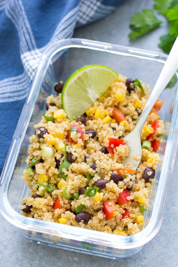 Meal prep container with southwest quinoa salad for lunch.