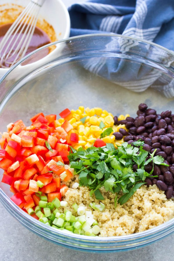 Ingredients for southwest quinoa salad with black beans.
