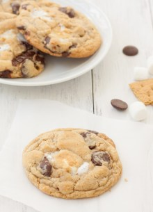 S'more Cookies, with gooey marshmallow, chocolate, and graham cracker crumbs!