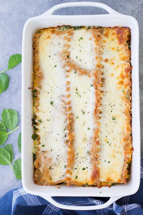Roasted Butternut Squash Lasagna in a baking dish.