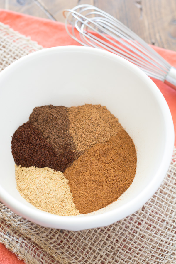 Ingredients for pumpkin pie spice in a bowl.