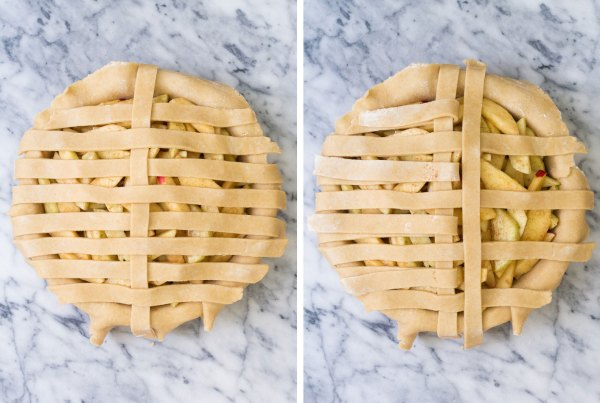 Weaving more strips of dough into a lattice pie crust.