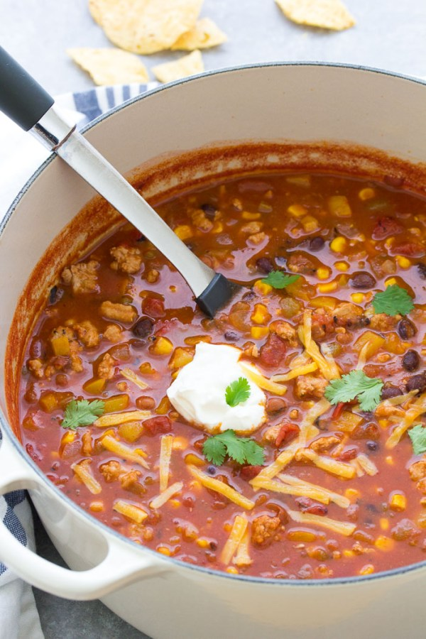 Turkey taco soup in a pot.