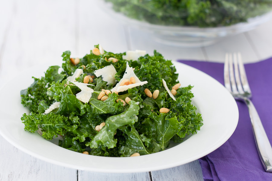 kale salad with pine nuts and Parmesan cheese