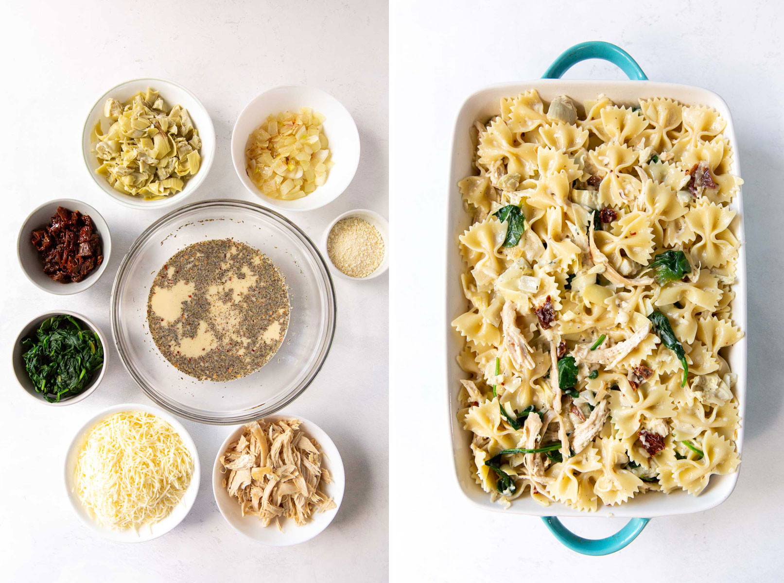 side by side photos showing recipe ingredients separately and then mixed in baking dish