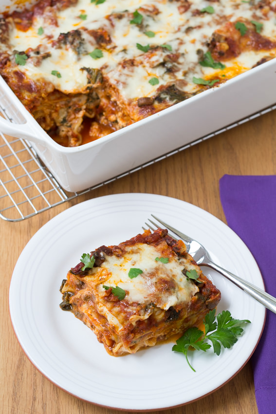 Kale and Baby Bella Lasagna - who knew a vegetable lasagna could be this good? | Kristine's Kitchen