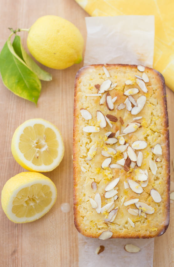 overhead view of cake with almonds on top