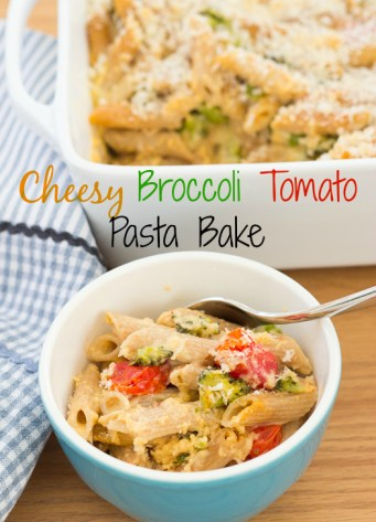 penne pasta bake in bowl with text, Cheesy Broccoli Tomato Pasta Bake