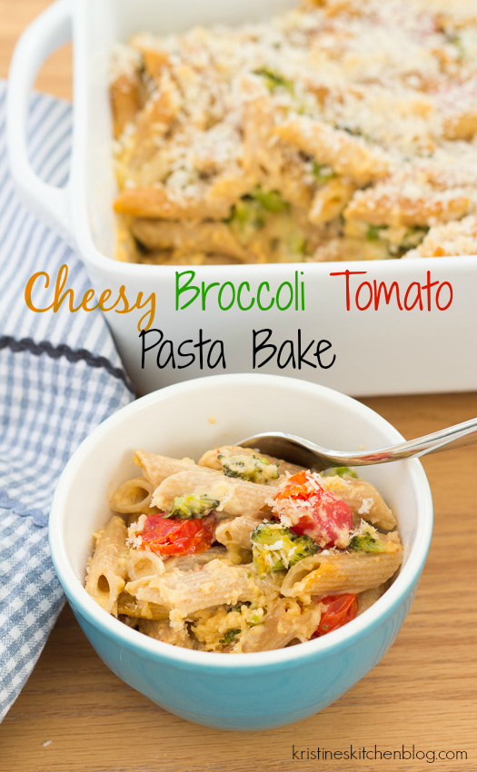 penne pasta bake with tomatoes and broccoli in a bowl with spoon and text overlay