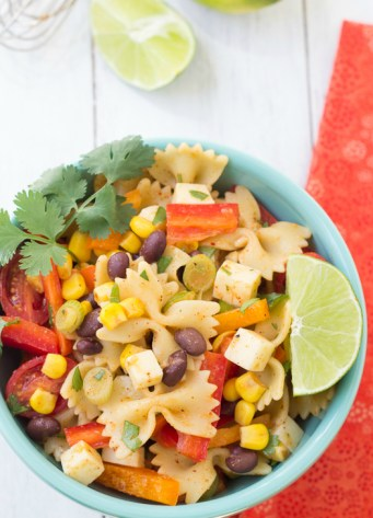 closeup of southwest pasta salad in a bowl