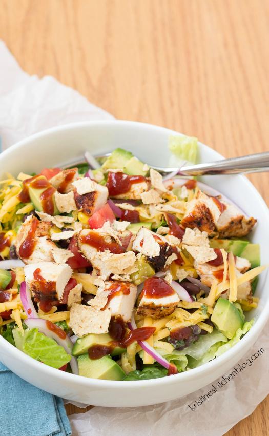 BBQ Chicken Salad with Cilantro-Lime Dressing | Kristine's Kitchen