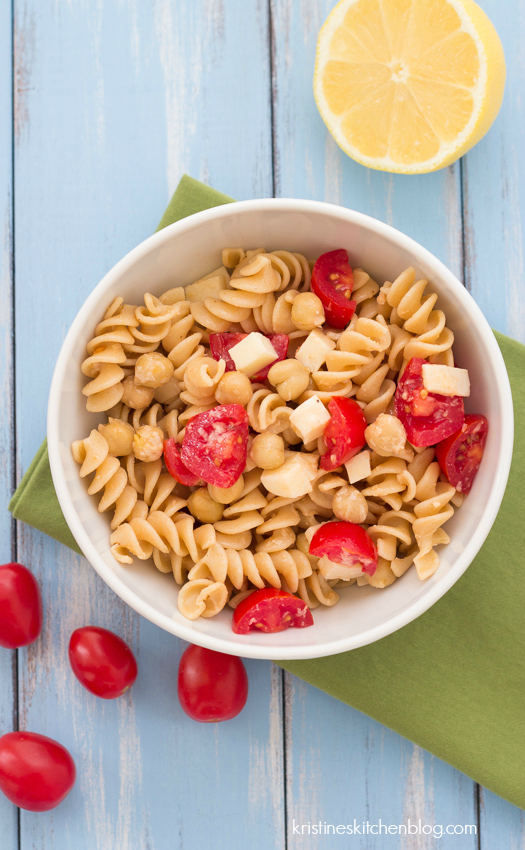 Easy Two Cheese Pasta with Chickpeas - perfect for healthy lunches or a quick dinner | Kristine's Kitchen